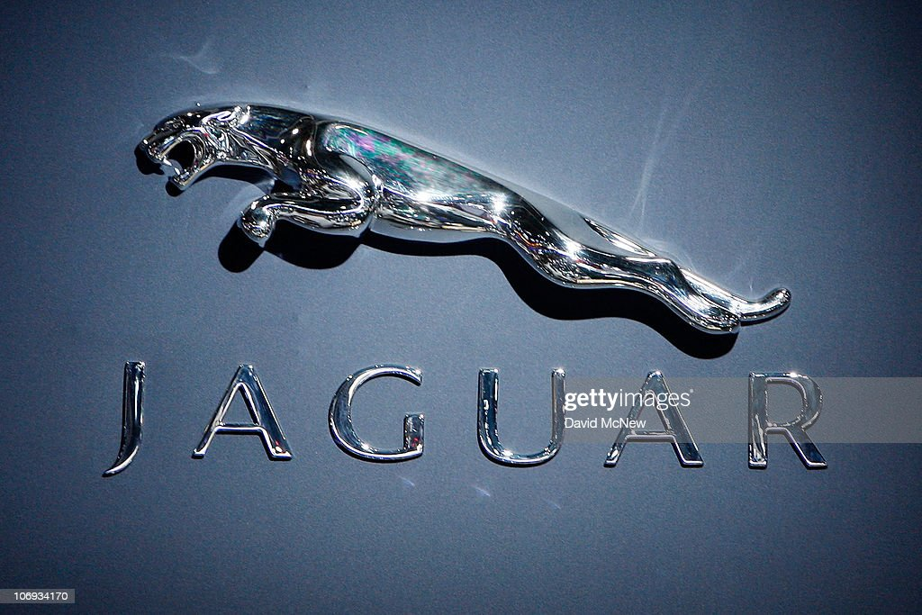 The Jaguar logo is seen at the twoday media preview event for the 2010 Los Angeles Auto Show on November 17 2010 in Los Angeles California More than...