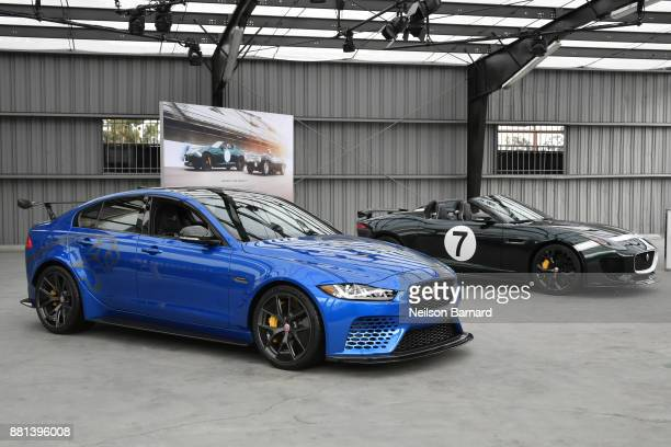 The Jaguar XE SV Project 8 and Jaguar FTYPE Project 7 on display at an exclusive customer preview which introduced three new vehicles from Jaguar...
