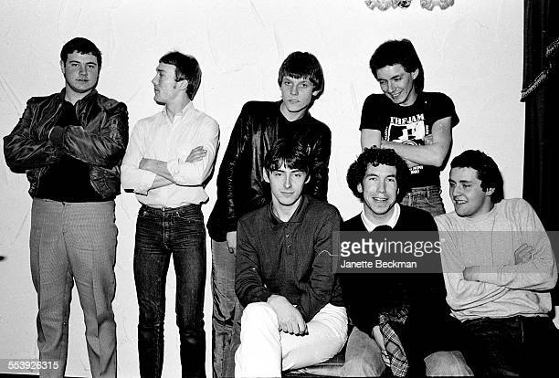 The Jam backstage at the band's farewell concert Brighton Centre Brighton United Kingdom 11th December 1982 Rick Buckler is standing second left Paul...