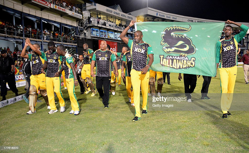 The Jamaica Tallawahs celebrate victory during the Final of the Cricket Caribbean Premier League between Guyana Amazon Warriors v Jamaica Tallawahs at Queen's Park Oval on August 24, 2013 in Port of Spain, Trinidad and Tobago.