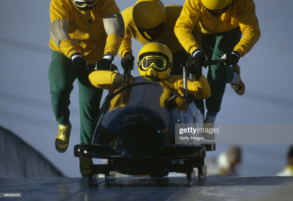 The Jamaican four man bobsleigh team in action at the 1988 Calgary Winter Olympic Games held on February 25, 1988 in Calgary, Canada.
