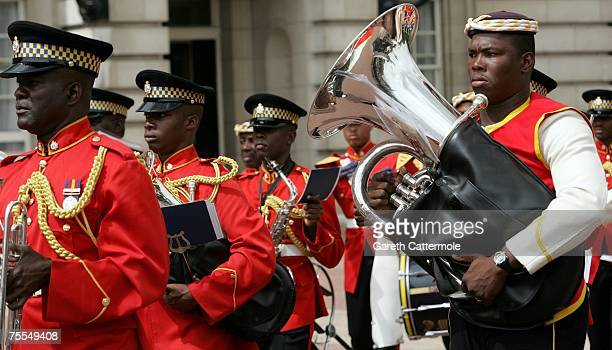 The Jamaican miltary and regimental band play to mark the start of the Jamaican Defence Force mount the Queens Guard at Buckingham Palace on July 19...