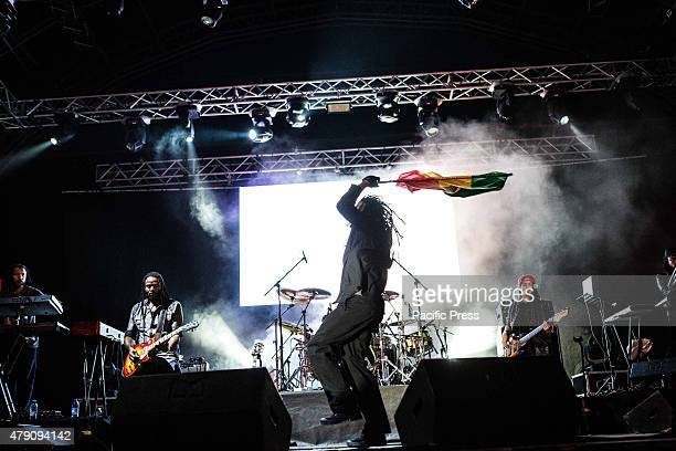 The Jamaican reggae singer Damian Marley also known as Junior Gong pictured on stage as he performs at Carroponte in Sesto San Giovanni Milan
