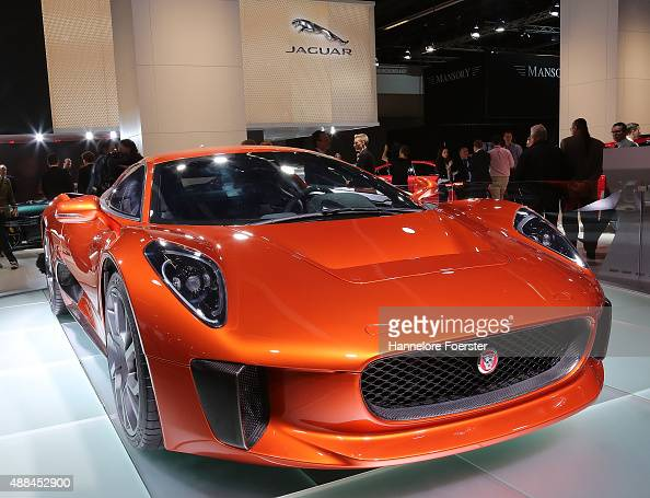 The James Bond Jaguar is diaplayed at the Jaguar stand at the 2015 IAA Frankfurt Auto Show during a press day on September 16 2015 in Frankfurt...