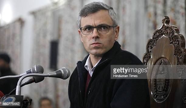 The Jammu and Kashmir Chief Minister and National Conference leader Omar Abdullah addressing press conference on December 222014 in Srinagar India As...
