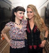 COVERAGE*** The JaneDear Girls Susie Brown and Danelle Leverette pose backstage during Country Thunder Arizona Day 2 on April 8 2011 in Florence...