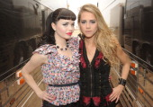 The JaneDear Girls Susie Brown and Danelle Leverette pose backstage during Country Thunder Arizona Day 2 on April 8 2011 in Florence Arizona