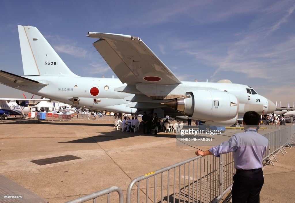 The Japan Maritime Self-Defense Force Kawasaki P-1 aircraft is parked on the tarmac at Le Bourget airport, north of Paris, on June 20, 2017 during the International Paris Air Show. /