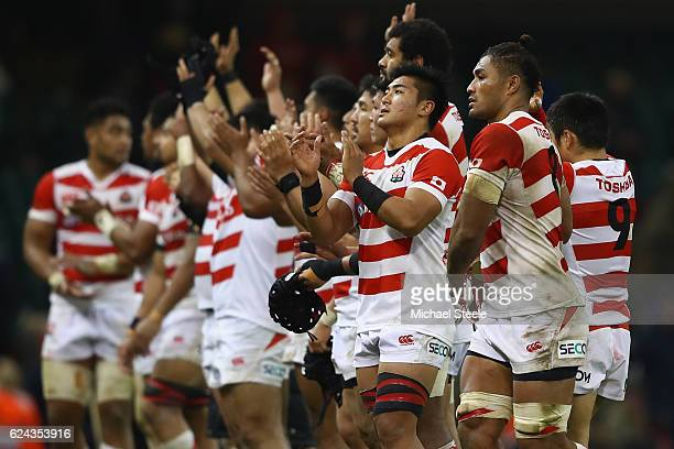 The Japan team applaud the supporters after their 3033 defeat during the International match between Wales and Japan at the Principality Stadium on...