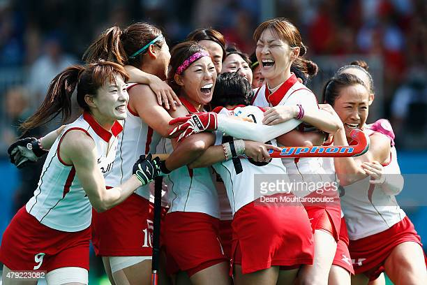 The Japan team celebrate victory over Belgium in the 5th to 8th place match between Belgium and Japan during the Fintro Hockey World League SemiFinal...