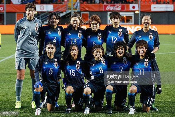 The Japan team line up during the International Friendly match between Netherlands and Japan held at Kras Stadion on November 29 2015 in Volendam...