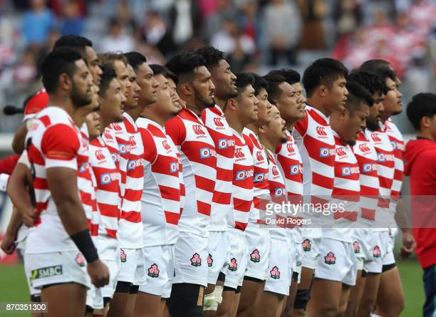 The Japan team line up during the rugby union international match between Japan and Australia Wallabies at Nissan Stadium on November 4 2017 in...