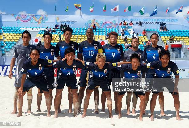 The Japan team line up for a photo prior to kick off during the FIFA Beach Soccer World Cup Bahamas 2017 group D match between Japan and Poland at...