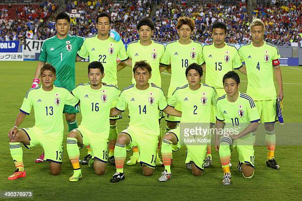 The Japan team pose for a team photo during the International Friendly Match between Japan and Costa Rica at Raymond James Stadium on June 2 2014 in...