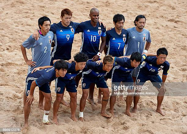 The Japan team pose prior to the the Continental Beach Soccer Tournament match between Japan and Vietnam at Municipal Sports Center on August 25 2016...