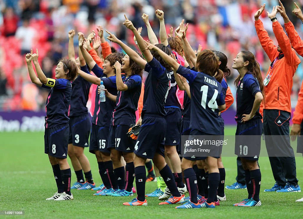 The Japan team thank the support during the Women's Football Semi Final match between France and Japan on Day 10 of the London 2012 Olympic Games at Wembley Stadium on August 6, 2012 in London, England.