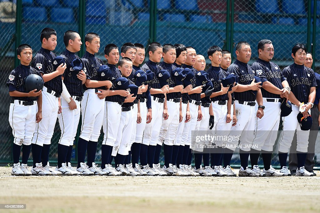 The Japan tean sings national anthem during the 8th 12U Asian Baseball Championship game between South Korea and Japan at Rizal Memorial Baseball Stadium on August 30, 2014 in Manila, Philippines.