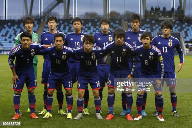The Japan U19 team group photo Back Row Ryosuke Kojima Reiya Morishita Kakeru Funaki Takumi Hasegawa Takehiro Tomiyasu and Takeru Kishimoto Front Row...