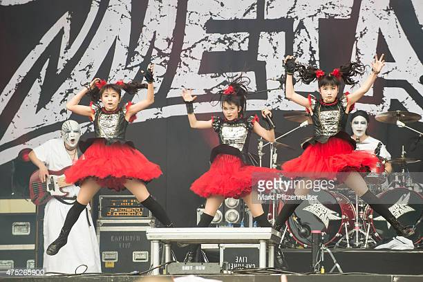 The Japanese band Babymetal performs on stage at the VeltinsArena on May 30 2015 in Gelsenkirchen Germany