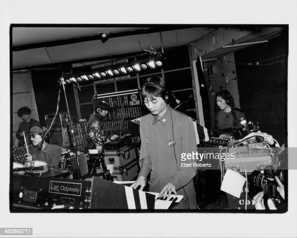 The Japanese band Yellow Magic Orchestra on stage 1979 Haruomi Hosono in center Yukihiro Takahashi on the far left Ryuichi Sakamoto on second left