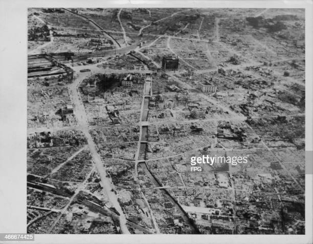 The Japanese city of Hamamatsu viewed from a B52 Bomber following an air raid during World War Two Japan circa 19431945