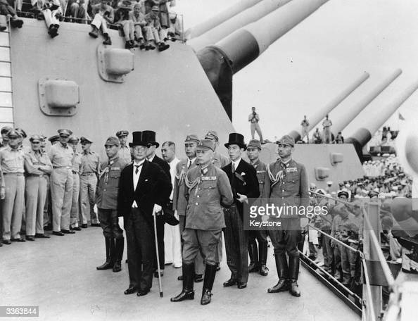 The Japanese delegation lead by Mamoru Shigemitsu and Yoshijiro Umezu arrives on board the USS Missouri in Tokyo Bay to sign the Instrument of...