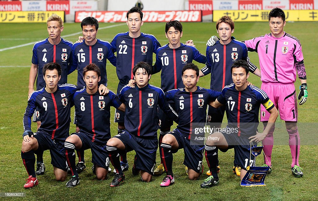The Japanese football team lineup before the international friendly match between Japan and Latvia at Home's Stadium Kobe on February 6, 2013 in Kobe, Japan.