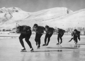 The Japanese Olympic speed skating team train on a lake in preparation for the Squaw Valley 1960 Winter Olympics Hokkaido Japan 31st December 1959