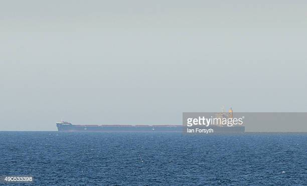 The Japanese owned cargo ship Lowlands Serenity is currently at anchor off the coast of Redcar as it waits to dock at Teesport with a cargo of Iron...