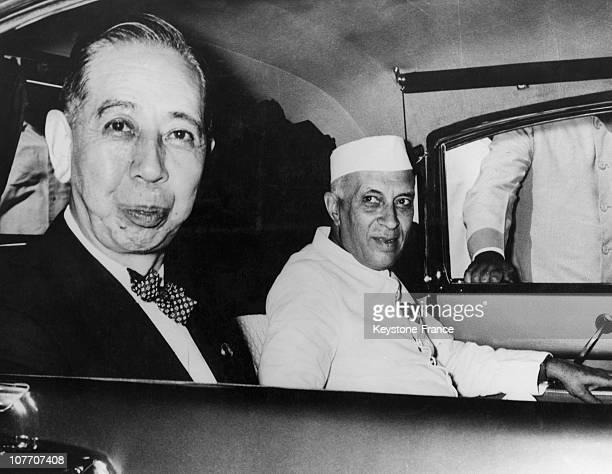 The Japanese Prime Minister Nobusuke Kishi And The Indian Prime Minister Nehru In Delhi In 1957
