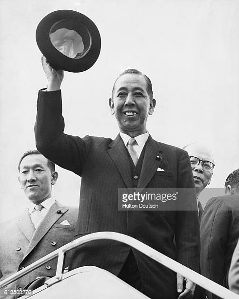 The Japanese Prime Minister Nobusuke Kishi leaves London Airport after an official visit to Britain 1959