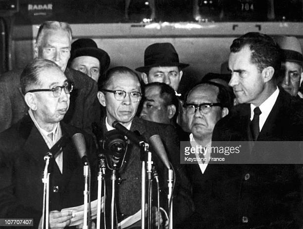 The Japanese Prime Minister Nobusuke Kishi The American State Secretary Christian Herter And Vice President Richard Nixon In Washington On January 20...