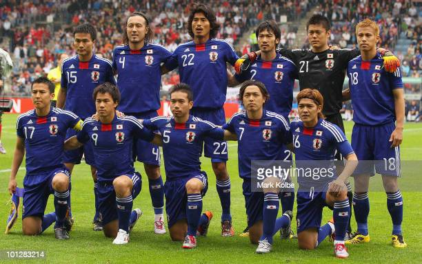 The Japanese team pose for a team photo before their International Friendly between Japan and England at UPCArena on May 30 2010 in Graz Austria
