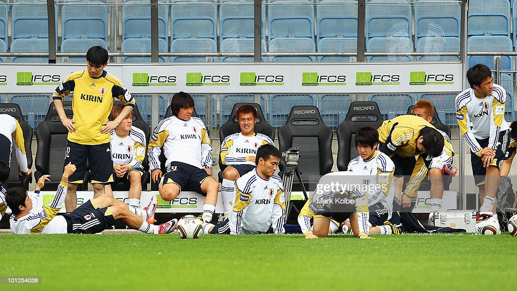 The Japanese team warm-up ahead of a Japan training session at UPC-Arena on May 29, 2010 in Graz, Austria.