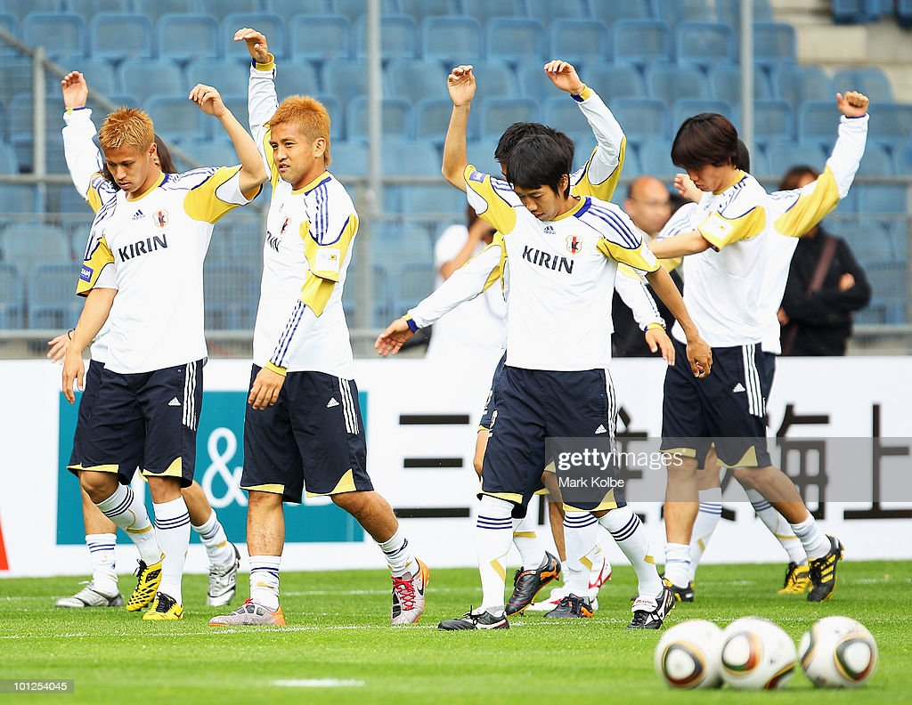 The Japanese team warm-up during a Japan training session at UPC-Arena on May 29, 2010 in Graz, Austria.