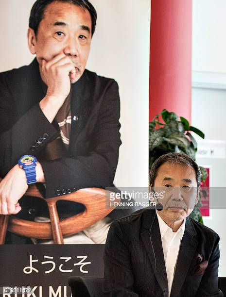The Japanese writer Haruki Murakami attends an reading event at Odense Library in Odense Denmark on October 30 2016 Murakami is laureate of the 2016...