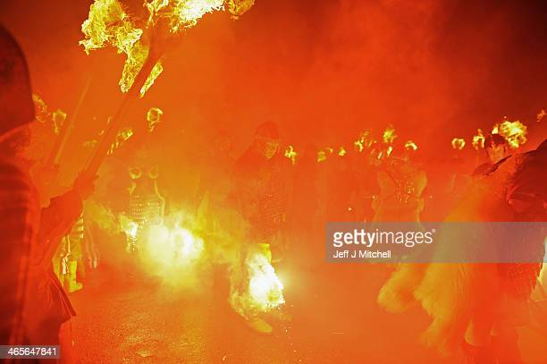 The Jarl Squad march through the streets of Lerwick on January 28 in the Shetland Islands Scotland The traditional festival of fire is known as 'Up...