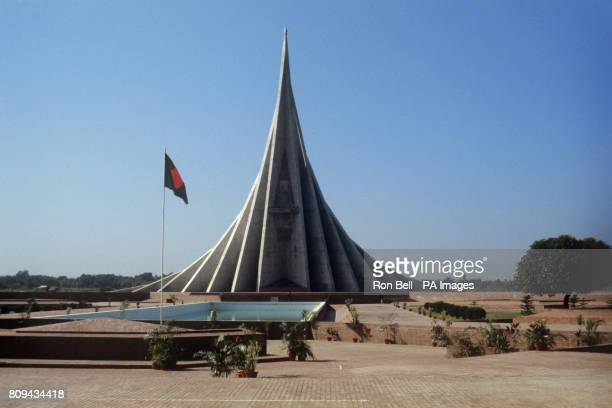 The Jatiyo Smriti Soudho at Savar a memorial to war dead from the Bangladesh War of Independence in 1971 where the Queen and Duke of Edinburgh placed...