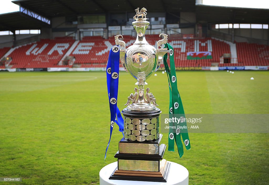 The JD Welsh Cup trophy before the JD Welsh Cup Final match between Airbus UK Broughton and The New Saints at Racecourse Ground on May 2, 2016 in Wrexham, Wales.