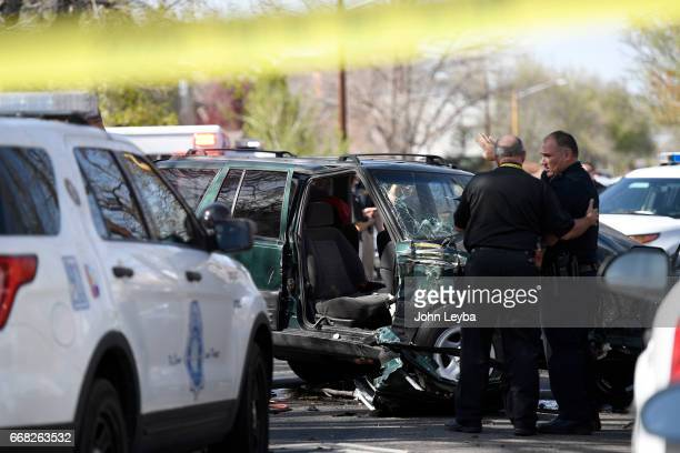 The Jeep Grand Cherokee that hit a school buss at 39th Tejon on April 13 2017 There were 5 school kids taken to the hospital The kids were from the...