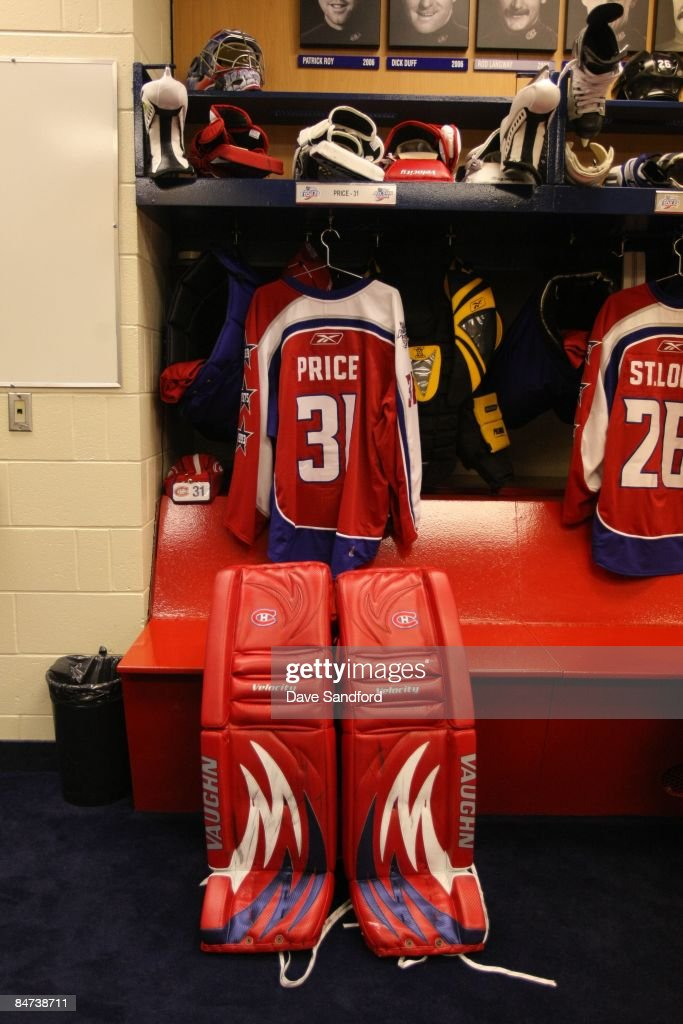The jersey and pads of Montreal Canadiens goalie Carey Price are shown in the locker room during the McDonalds/NHL All-Star open practice as part of the 2009 NHL All-Star weekend on January 24, 2009 at the Bell Centre in Montreal, Canada.