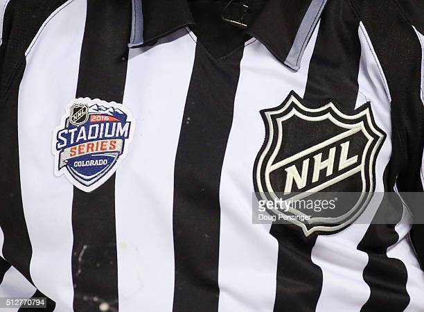 The jersey belonging to linesman Darren Gibbs has the NHL crest along with the Stadium Series logo during the game between the Colorado Avalanche and...
