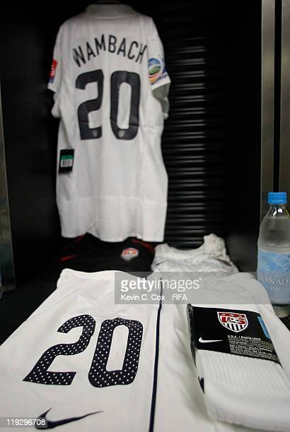 The jersey of Abby Wambach of USA is seen in her locker prior to the FIFA Women's World Cup Final match between Japan and USA at the FIFA World Cup...
