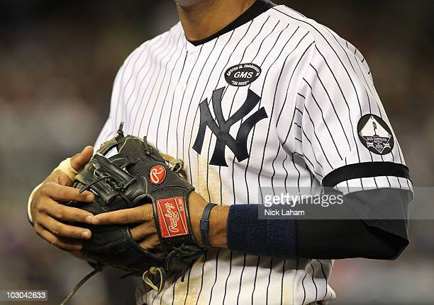 The jersey of Alex Rodriguez of the New York Yankees is seen against the Kansas City Royals at Yankee Stadium on July 22 2010 in the Bronx borough of...