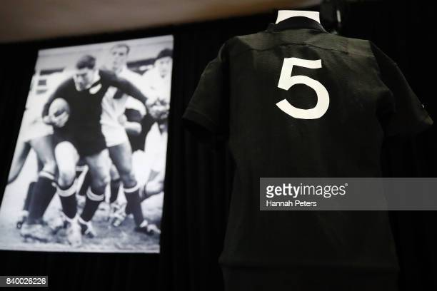 The jersey of All Blacks player Sam Whitelock is seen on display during the Funeral Service for Sir Colin Meads on August 28 2017 in Te Kuiti New...
