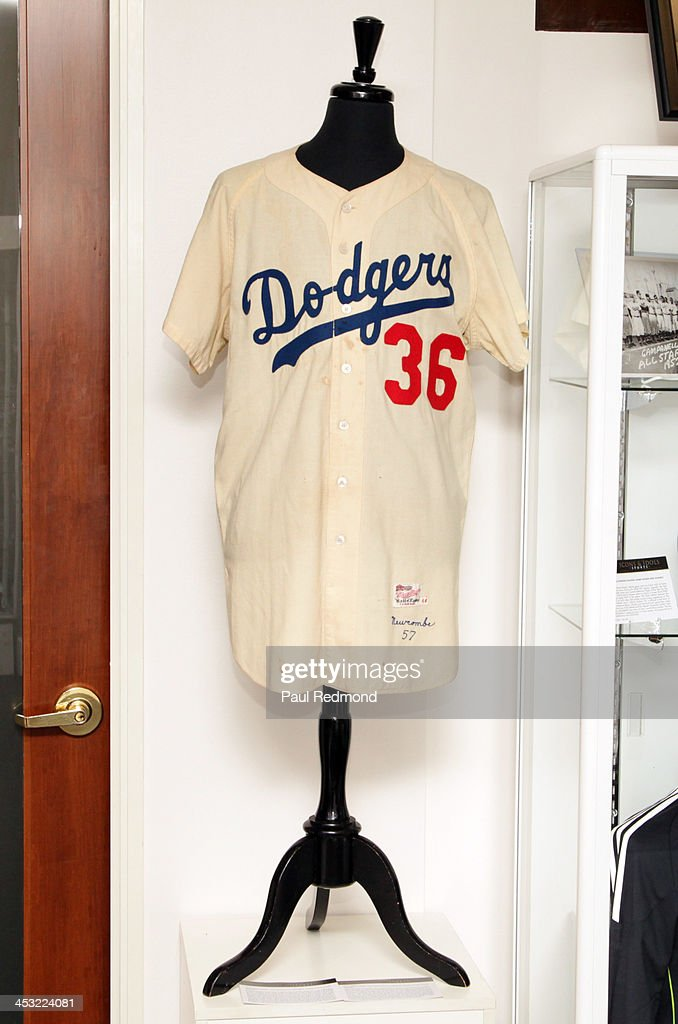 The jersey of athlete Don Newcombe at Julien's Auctions present The Trilogy Collection: Props and Costumes from Middle Earth, Street Art Auction and Icons and Idols: Rock n' Roll Memorabilia at Julien's Gallery on December 2, 2013 in Beverly Hills, California.