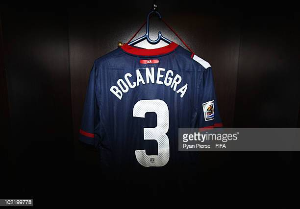 The jersey of Carlos Bocanegra of the United States hangs in the dressing room prior to the 2010 FIFA World Cup South Africa Group C match between...
