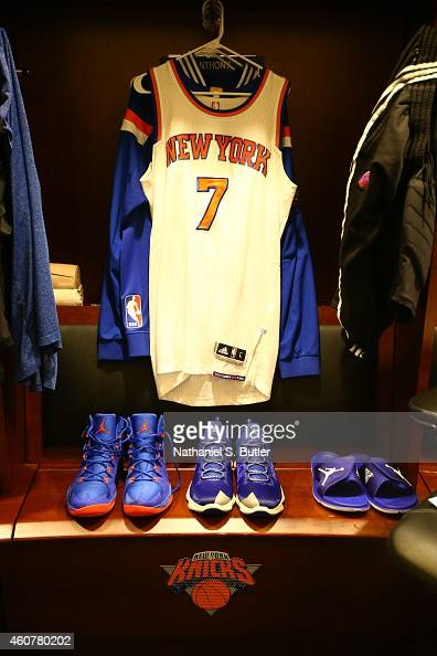 The jersey of Carmelo Anthony of the New York Knicks in the lockerroom before the game against the Phoenix Suns during the game on December 20 2014...