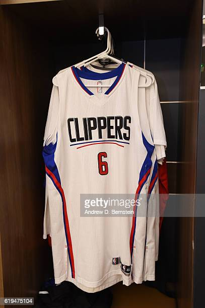 The jersey of DeAndre Jordan of the LA Clippers hangs his the locker before the game against the Utah Jazz on October 30 2016 at STAPLES Center in...