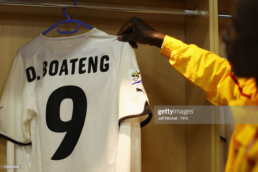The jersey of <a gi-track='captionPersonalityLinkClicked' href=/galleries/search?phrase=Derek+Boateng&family=editorial&specificpeople=535783 ng-click='$event.stopPropagation()'>Derek Boateng</a> of Ghana prior to the 2010 FIFA World Cup South Africa Group D match between Serbia and Ghana at Loftus Versfeld Stadium on June 13, 2010 in Pretoria, South Africa.